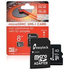 Micro SD-Card SDHC Capacità 8GB Classe 10 con Adattatore SD incluso