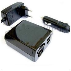 Caricatore Universale Auto / rete Con Cavo Retrattile + 2 Porte Usb