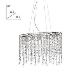 I-BREEZE / S5 - Lampadario a sospensione elegante con cristalli e cromato 40 watt