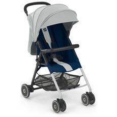 Fletto passeggino in alluminio dalla nascita 0-36 mesi. Colore: grigio / blu