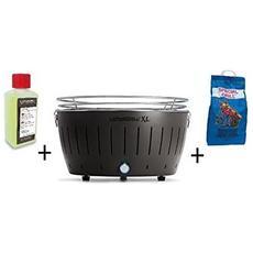 Barbecue Da Tavolo Xl + Kit Accensione Carbonella Ad Alte Prestazioni E Gel - Nero