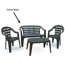 Set da Giardino 1 Panchina 2 Sedie 1 Tavolo Moka - Modello Madura