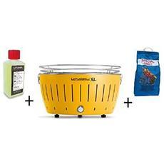 Barbecue Da Tavolo Xl + Kit Accensione Carbonella Ad Alte Prestazioni E Gel - Giallo