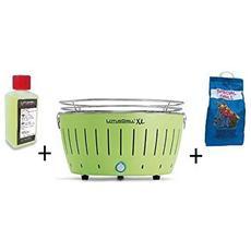 Barbecue Da Tavolo Xl + Kit Accensione Carbonella Ad Alte Prestazioni E Gel - Verde