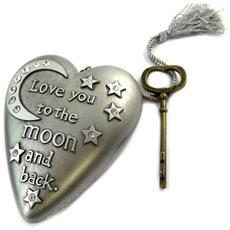 oggetto decorativo 'art hearts' grigio argentato (ti amo alla luna e ritorno) - 10x85x35 cm - [ p1143]