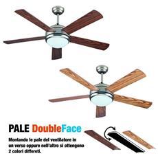 Ventilatore Da Soffitto Con Telecomando 5 Pale Double Face Luce 60w Ø132cm