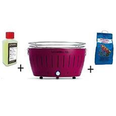 Barbecue Da Tavolo Xl + Kit Accensione Carbonella Ad Alte Prestazioni E Gel - Viola