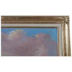 Dipinto A Mano Olio Su Tela Con Cornice In Legno Finitura Foglia Oro 110x3x140 Cm
