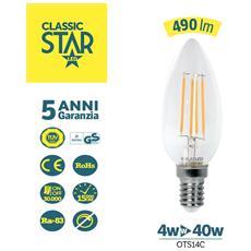 Oliva E14 Trasparente Classic Star 4w 490lm