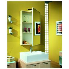 Pensile Con Specchio Applicato 2 Ripiani E Profilo Alluminio (esclusa Applique) Montata