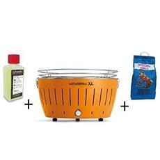 Barbecue Da Tavolo Xl + Kit Accensione Carbonella Ad Alte Prestazioni E Gel - Arancione