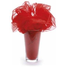 Telo In Organza Semplice Color Rosso Fragola Mt 3 X 1,5 H