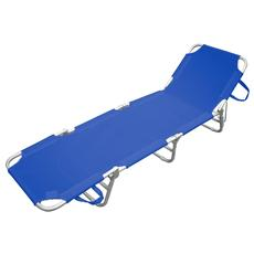 Lettino Prendisole da Giardino Sdraio in Alluminio Colore Blu
