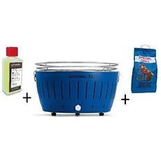 Barbecue Da Tavolo Xl + Kit Accensione Carbonella Ad Alte Prestazioni E Gel - Blu