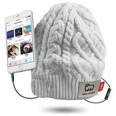 Cappello Invernale WOOL con Cuffie e Microfono Colore Bianco