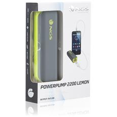 PowerPump 2200 Lemon, Ioni di Litio, USB, Grigio, Giallo, Micro-USB, Tablet, Fotocamera, MP3, Altro, Smartphone, MP4