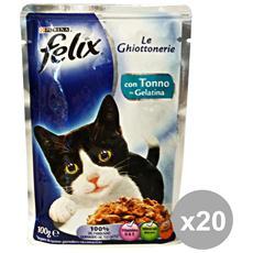 Set 20 Le Ghiottonerie Tonno 100 Gr. Bustina Cibo Per Gatti