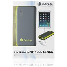 PowerPump 4000 Lemon, Ioni di Litio, USB, Grigio, Giallo, Micro-USB, Tablet, Fotocamera, MP3, Smartphone, MP4