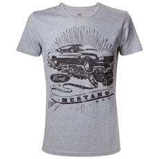 Ford - Grey Melange Mustang Black Print (T-Shirt Unisex Tg. S)