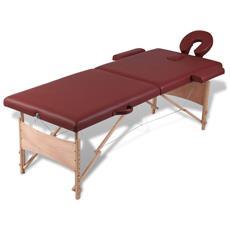 Lettino Pieghevole Da Massaggio Rosso 2 Zone Con Telaio Legno