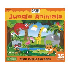 Jungle animals. Giant puzzle and book. Con puzzle