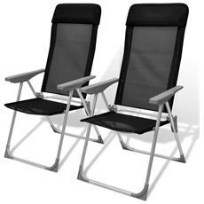 2 Pz Sedie Da Campeggio In Alluminio Nere 56x60x112 Cm