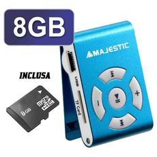 Lettore MP3 +MicroSD 8GB USB 2.0 colore Blu