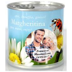 Bomboniere Matrimonio Naturali Personalizzate Margherita Fiori In Lattina Macflowers