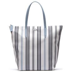 Borsa Donna Shopper L. 12.12 Righe Verticali Unica Bianco Blu