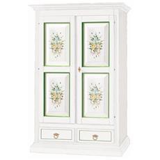Armadio Legno Bianco Opaco Decorato Fiori Verde - Codluis 341
