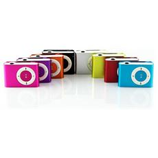 Lettore MP3 mini rosso con clip alla moda con cuffie e cavo