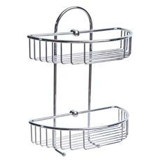 Portaoggetti da WC ad Angolo in Acciaio Inox Cromato 27 x15x37 cm