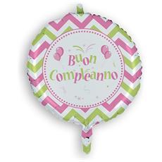 Palloncino Mylar Buon Compleanno Chevron Rosa 45 Cm