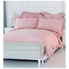 Benedetta Elegante E Raffinato Completo Copripiumino Matrimoniale Lavorazione Artigianale (rosa)