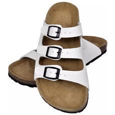Sandalo Unisex Sughero Bio Bianco Con 3 Cinghie Con Fibbie Taglia 41