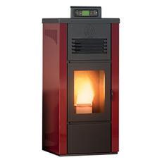 Stufa a Pellet Islanda Rivestimento in Acciaio Potenza Termica 8 kW 220 m3 riscaldabili Colore Bordeaux