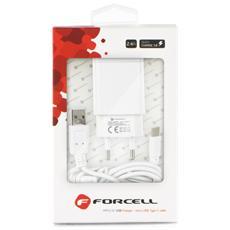 Caricabatterie Da Rete Forcell Micro Usb Typce C - 2,4a Con La Funzione Quick Charge 3.0