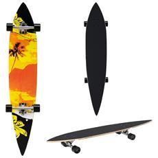 Longboard Pintail (116 X 22 X 12 Cm) (abec 7 - Cuscinetti A Sfera) Skateboard / Tavola Da Surf / (motivo E Colore Personalizzabili) Skateboard / Tavola Da Surf / Tavola Da Freeride / Tavola Da Cruising