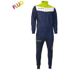 Tuta Campo Givova Completo Di Giacca A Manica Lunga E Pantalone Di Colore Blu / giallo Fluo Taglia L