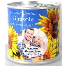 Bomboniere Matrimonio Naturali Personalizzate Girasole Fiori In Lattina Macflowers