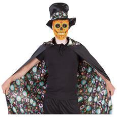 Mantello Double Face Giorno Dei Morti Halloween Taglia Unica