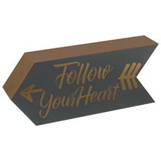 Cartello Decorativo A Freccia Follow Your Heart (30 X 6 X 12 Cm) (grigio / dorato)