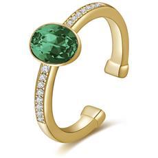 Anello In Argento Tring Galvanica Oro Pave Di Zirconi Bianchi Cristallo Swarovski Emerald