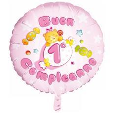 Palloncino Mylar Buon 1° Compleanno Rosa Ø 55 Cm