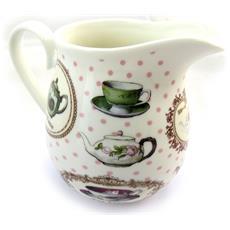 teiera di porcellana color crema 'tea time' bianco colorato - [ n4277]