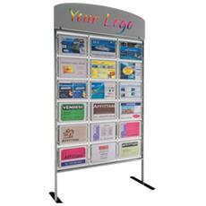 Porta avvisi menpa da terra con 18 display A4 orizzontali