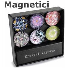 Espositore Con 6 Magneti Tondi In Vetro Calamite Decorate Set 3 Espositori