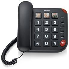 Bravo15nero-telefoni Con Filo -telef. C / Filo V. Voce 10mem. +3mem. Dedicate Led Nero