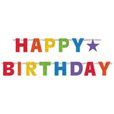 Festone Multicolore Happy Birthday In Cartone Taglia Unica