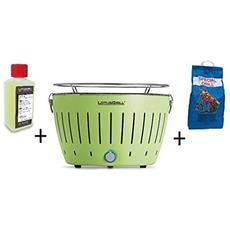 Barbecue Da Tavolo + Kit Accensione Carbonella Ad Alte Prestazioni E Gel - Verde